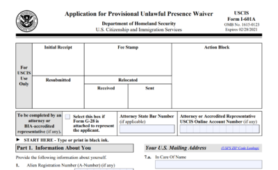 I-601A Application Form