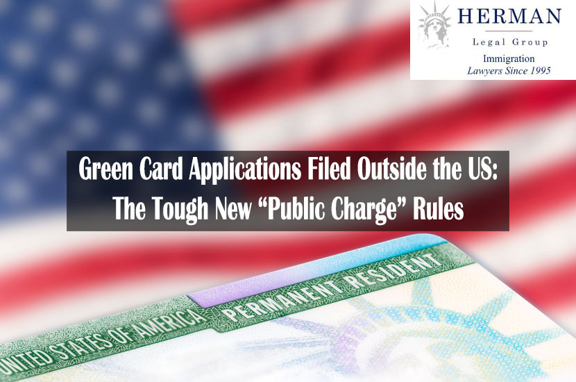 United States of America permanent resident card, green card, with US flag in the background.