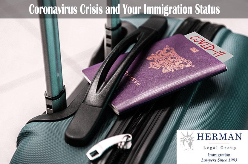 Note COVID-19 coronavirus in passport on a suitcase.