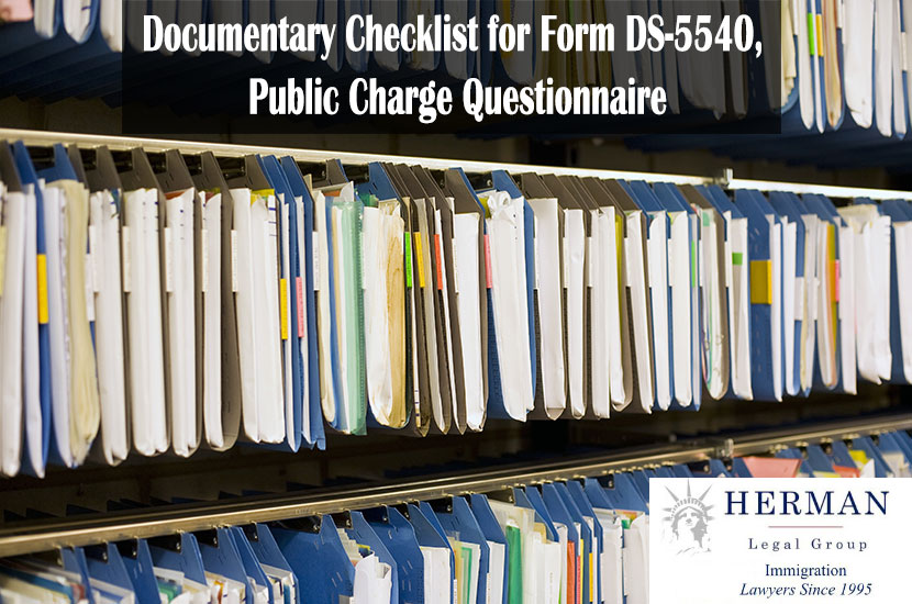 Documentary Checklist for Form DS-5540, Public Charge Questionnaire