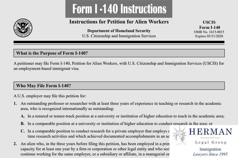 Form I-140 Instructions