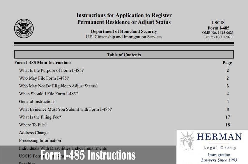 Form I-485 Instructions