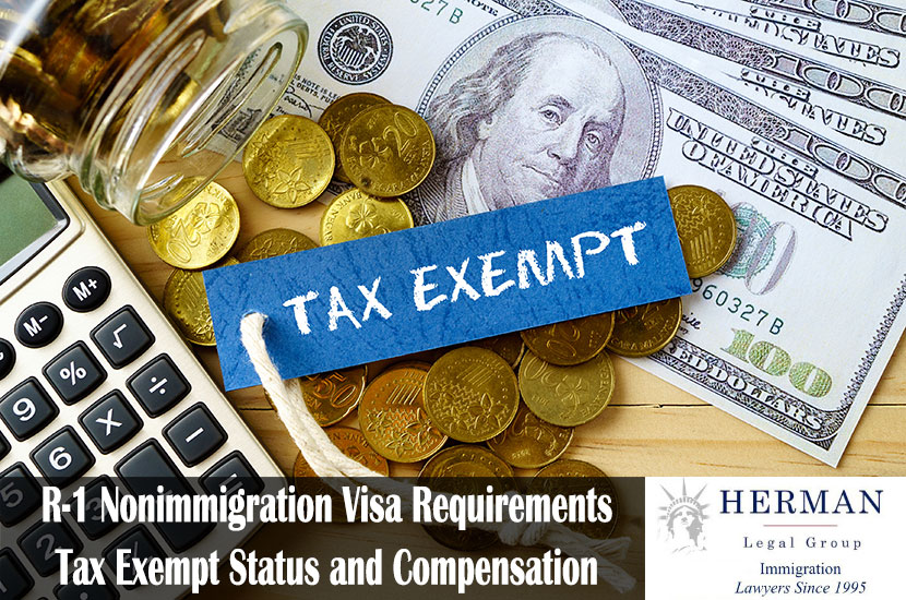 TAX EXEMPT words, hundred dollar bills, golden coins and calculator on wooden background.