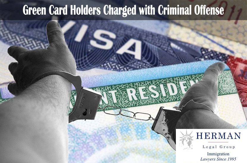 Man with handcuffs - Green Card background