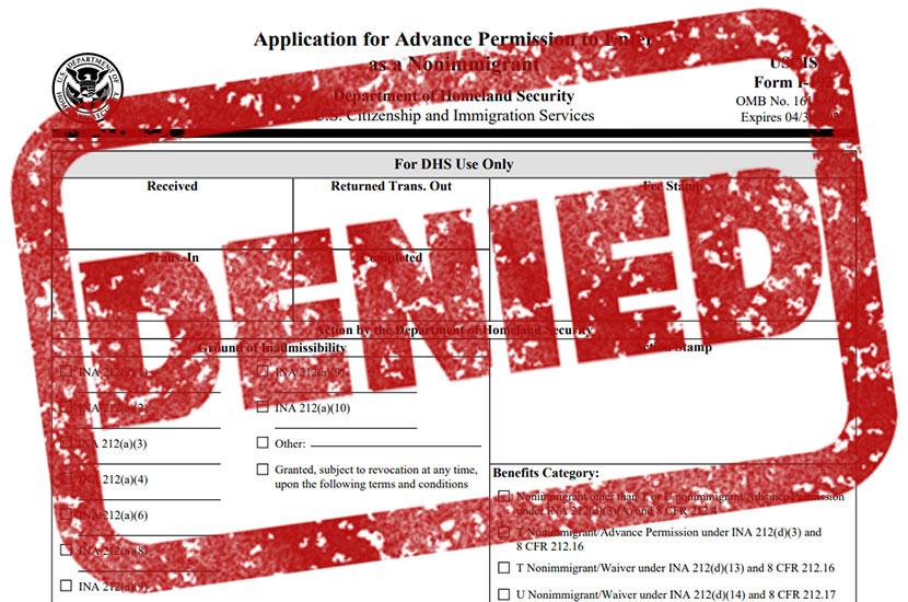 Form I-192 Denied