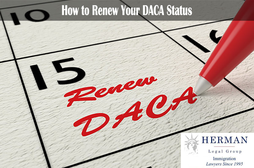Calendar where a red pen writes a reminder to renew DACA in red