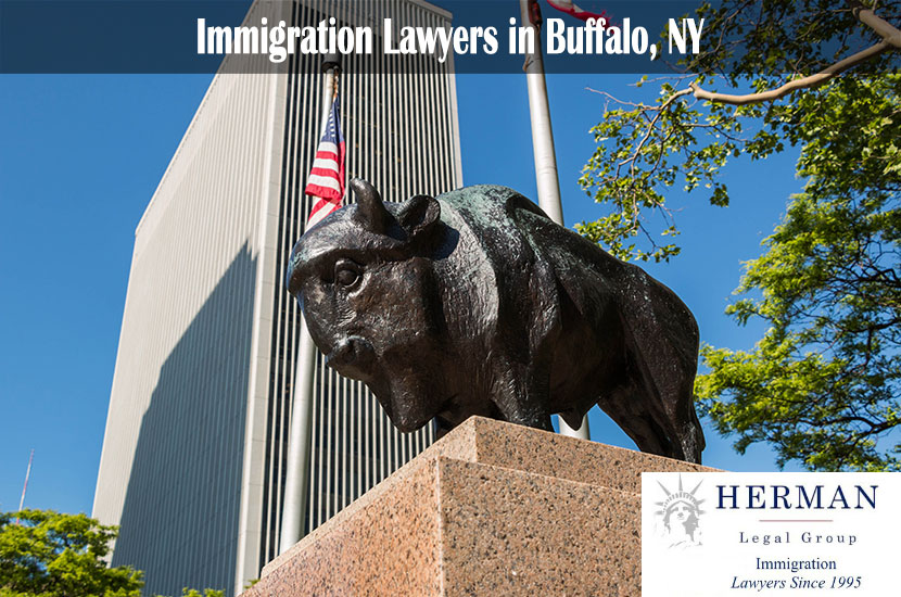 Statue of a Buffalo in front of the One M&T Plaza building in Buffalo, New York.